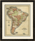 Antique Map of South America Posters by Alvin Johnson