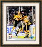 Patrice Bergeron, Zdeno Chara, & Marco Sturm Celebrate Game Winning Goal 2010 NHL Winter Classic Framed Photographic Print