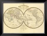 Mappemonde, c.1849 Framed Giclee Print by Eugene Andriveau-goujon