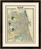 Map of Chicago City, c.1876 Framed Giclee Print by  Warner & Beers