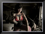 Garage Pin-Up Girl Framed Giclee Print by David Perry