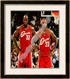 LeBron James & Shaquille O'Neal Framed Photographic Print