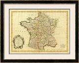 France, carte generale, c.1786 Framed Giclee Print by Rigobert Bonne