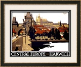 Central Europe via Harwich Framed Giclee Print by Frank Newbould