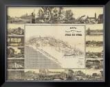 Mapa Historico Pintoresca Moderno de al Isla De Cuba, c.1853 Framed Giclee Print by B. & C. May