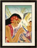 Mending Fishing Net Framed Giclee Print by Frank Mcintosh