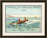 Hawaii, Outrigger, Christmas Greeting Framed Giclee Print