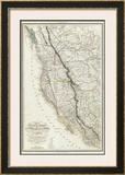 Carte de la Cote de l'Amerique, c.1844 Framed Giclee Print by Eugene Duflot De Mofras