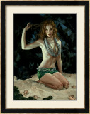 Pin-Up Girl: Exotic Redhead Grotto Framed Giclee Print by Richie Fahey