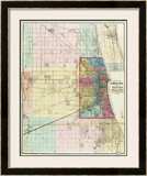 Map of Chicago and Environs, c.1869 Framed Giclee Print by Rufus Blanchard