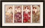 Precious Stones and Flowers Framed Giclee Print by Alphonse Mucha