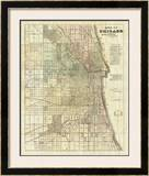 Map of Chicago, c.1857 Framed Giclee Print by Rufus Blanchard