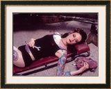 Pin-Up Girl: Garage Creeper Tattoo Framed Giclee Print by David Perry
