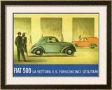 Fiat 500 Topolino Framed Giclee Print