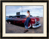 Pin-Up Girl: Merc Chop Top Flames Framed Giclee Print by David Perry