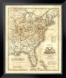 Map of The United States, c.1845 Framed Giclee Print by John Warner Barber