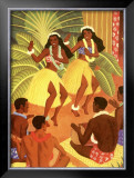 Hawaii, Wahine Hula Girls Framed Giclee Print