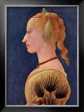 Portrait einer Dame in Gelb Prints by Alesso Baldovinetti