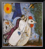 Bridal Couple with Eiffel Spride Prints by Marc Chagall