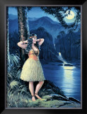 Romantic Hula Girl Framed Giclee Print