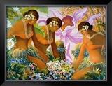 Hawaiian Hula Framed Giclee Print by Warren Rapozo
