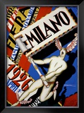 Milano Framed Giclee Print by Achille Luciano Mauzan
