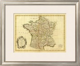 France, carte generale, c.1786 Framed Giclee Print by Rigobert Bonne
