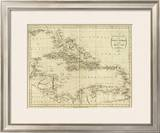 Map of the West Indies, c.1796 Framed Giclee Print by John Reid