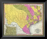 Map of Texas, c.1846 Framed Giclee Print by Samuel Augustus Mitchell