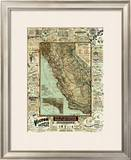 Map of California Roads for Cyclers, c.1896 Framed Giclee Print by George W. Blum