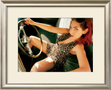 Pin-Up Girl: Front Seat Leopard Framed Giclee Print by David Perry