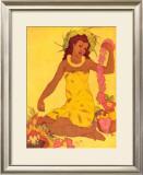 Lei Maker, Hawaii Framed Giclee Print by John Kelly
