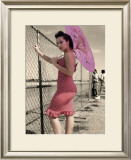 Pin-Up Girl with Parasol Framed Giclee Print by David Perry