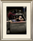 Hot Rod Pin-Up Girl Framed Giclee Print by David Perry