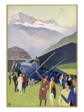 Aeroplane Tours of Mont Blanc Leaving from Passy Airfield Giclee Print