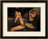 Tattoo Pin-Up Girl Framed Giclee Print by David Perry