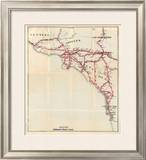 California: Ventura, Los Angeles, San Bernardino, Orange, and San Diego Counties, c.1896 Framed Giclee Print by George W. Blum