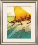 Big Surf at Waikiki Framed Giclee Print by John Kelly