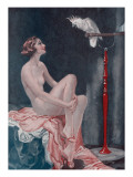 A Naked Woman Relaxing While Speaking to Her Cockatoo Giclee Print