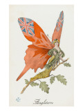 Britannia as a Patriotic Butterfly - WWI Giclee Print