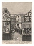 A Scene Showing Various Shops (Apothecary, Barber, Tailor, Etc.) Giclee Print