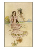 A Water-Nymph Sits on the Sand with a Nautilus Giclee Print