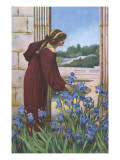 A Woman in Aesthetic Dress Picking Iris in a Classical Garden Setting Giclee Print