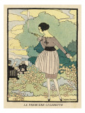 A Young Woman Smoking a Cigarette Through a Holder in the Garden Giclee Print