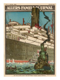 A Passenger Liner of the Anchor Line Leaves Harbour for India or Australia Giclee Print