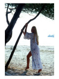 Blonde Female Model on the Beach Giclee Print