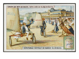 A Sand Yacht Race Takes Place on the Beach at Biarritz, France Giclee Print