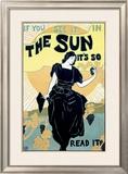 The Sun Sunshine Newspaper Framed Giclee Print by Louis J Rhead