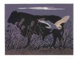 Barn Owl/Bull Moonlight Giclee Print by Robert Gillmor