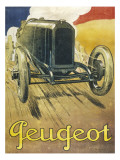 An Advertisement for Peugeot Motor Cars, Depicting One of their Racing Models at Full Pelt Giclee Print